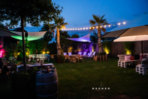 Wiese vor Glashaus Decher für Outdoor-Hochzeit wie ein Freilichtclub